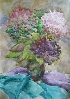"The painting ""Bouquet of Hydrangeas"""