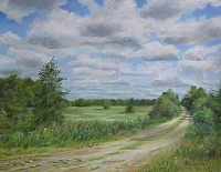 "The painting ""Village Kolobrodovo. Road in July """