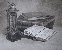 "The painting ""Still life with books"""