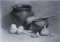 "drawing ""Pots and garlic"""