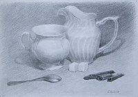 "drawing ""Still life with white porcelain"""