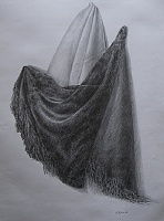 "drawing ""Draperies: plush and satin"""