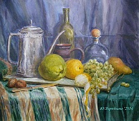 Still life with lemon and coffee maker